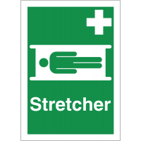 Easily visible 'stretcher' first aid sign