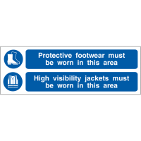 Two-In-One Protective Footwear and High-Visibility Clothing Hanging Sign