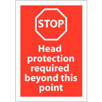 Polypropylene Head Protection Required Beyond This Point Sign