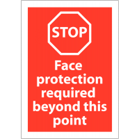 Face Protection Required Beyond This Point' PPE Awareness Stop Signs