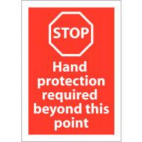 Highly-Visible Rigid Plastic 'Stop – Hand Protection Required' Sign
