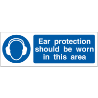 Double-sided 'ear protection should be worn' hanging PVC sign