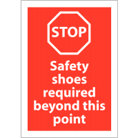 Stop – Safety Shoes Required' Sign in Various Sizes