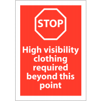 Eye-Catching Red 'High Visibility Clothing Required' Sign with Stop Symbol