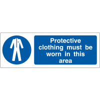 Double sided, easily viewed Applied Protective Clothing Must Be Worn Hanging Signs