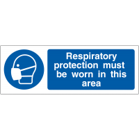 Mandatory respiratory protection must be worn hanging signs