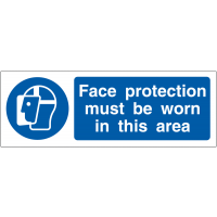 Face Protection Must Be Worn In This Area' PPE Awareness Double Sided Hanging Signs