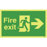 Anti-Slip Photoluminescent Fire Exit Signs with Right Arrow