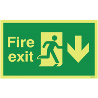 Glow-in-the-dark fire exit floor sign with down arrow