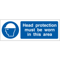 Head Protection Must Be Worn' Double-Sided Projecting Wall Sign
