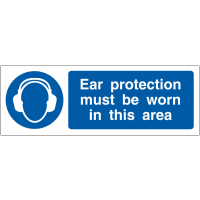 Projecting ear protection risk awareness signage