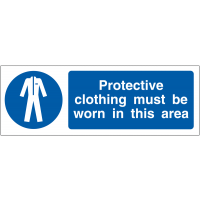 A mandatory protective clothing awareness projecting wall sign