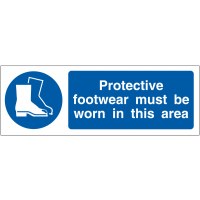 Double-sided protective footwear awareness projecting wall sign