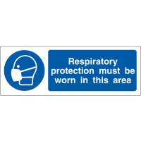 Double-sided respiratory protection awareness projecting wall sign