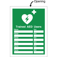 Defibrillator Update Sign fits A4 Inserts for Trained AED Users