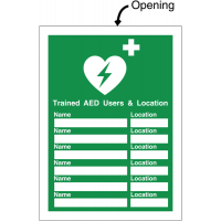 Defibrillator Update Sign for Display of Trained AED Users and Defib Locations