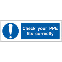 Plastic 'Check Your PPE Fits Correctly' Locker Sign