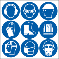 Self-adhesive Safety Stickers - PPE Symbols