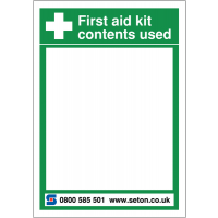 Easy to clean first aid white board for first aid kit contents used