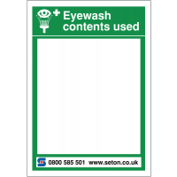 Reorder and restock white board for eyewash