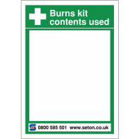 Rigid plastic first aid reorder whiteboard for burns