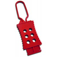 Flexible red nylon lockout hasps