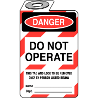 Highly visible 'Danger: Do Not Operate' padlock tag
