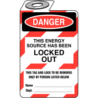 Convenient, economical lock out tag suitable for a wide range of applications