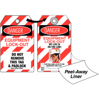 "Photo lockout tag with ""danger: my life is on the line"" message"