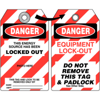 Durable Photo Lockout Tag for Dangerous Energy Sources