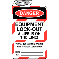 Equipment Lock-Out – A Life is on the Line' Padlock Tag