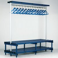 Impact-Resistant Plastic Bench Seating with Overhead Cloakroom Hangers