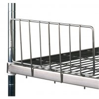 Side ledges for stainless steel wire shelving