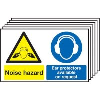 6-Pack of Noise Hazard/Ear Protector Safety Signs