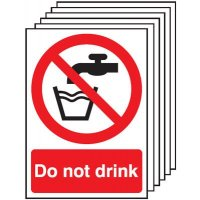 6 Pack of Do Not Drink Signs
