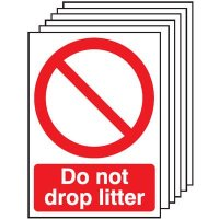 Pack of six 'do not drop litter' signs in durable materials