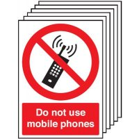 Easy-Fit No Mobile Phones Zone Sign - Pack of six