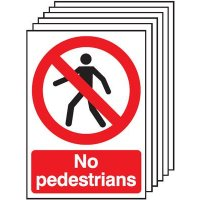 Six Pack Of Easy to Fit Pedestrian Warning Signs