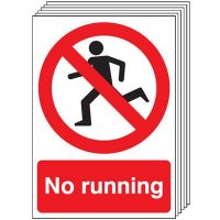 Six Pack No Running Signs With Symbol
