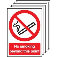 Six Pack No Smoking Beyond This Point Signage