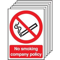 Company policy no smoking signs, pack of six