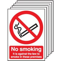 Adhesive 'it is against the law to smoke here' signs