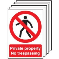Six Pack of Plastic Private Property No Trespassing Signs