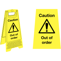 Highly visible 'out of order' plastic floor-standing sign