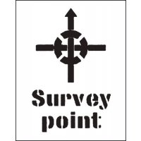 Strong Reusable PVC 'Survey Point' Stencil with Symbol