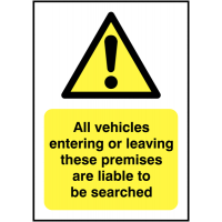 Vehicles liable to be searched' advisory signs