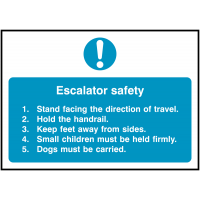 Highly visible and informative escalator safety sign