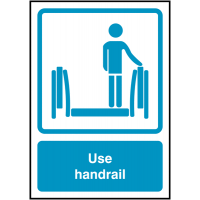 Instructional use handrail signs