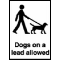 Self-adhesive 'dogs on a lead allowed' sign