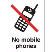 Instructive and to-the-point no mobile phone signs